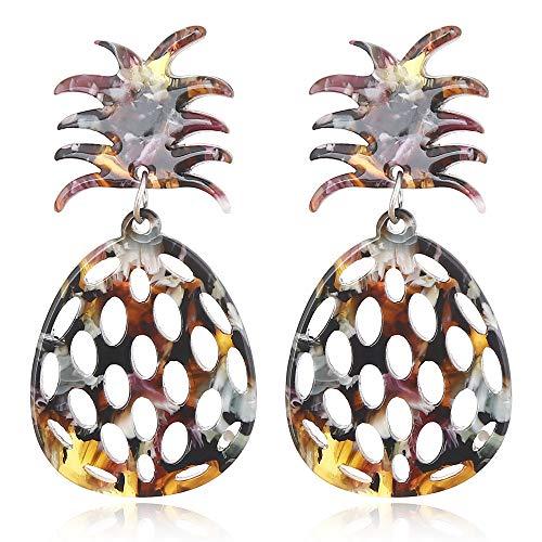 Kostüm Glas Honig - Übertrieben Große Marke Ananas Obst Acryl Ohrringe Frauen Obst Hohl Platte Ohr Nägel