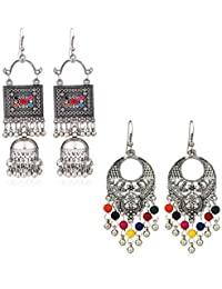 Yellow Chimes Combo 2 Pairs Stylish Oxidized Silver Danglers Earrings for Women