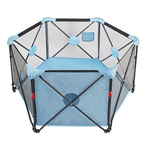 StaySmart tragbares Laufgitter für Babys, Kleinkinder und Neugeborene, Laufstall für Drinnen und Draußen mit gepolsterter Bodenmatte und Tragetasche