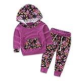 Internet Bébé Jeunes filles Coton mélangé Manches longues léopard impression Sweatshirt Phoque à capuchon+ pantalon tenues ensemble (80(12 Mois), Violet)