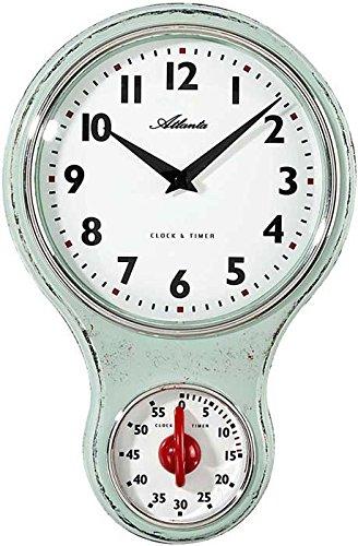Atlanta Küchenuhr mit Timer Eieruhr Wanduhr Retro Shabby Nostalgie Grün 6124-6
