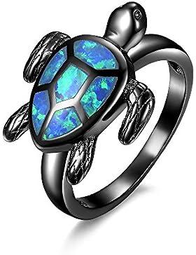 Blauer Schildkröten-Feueropalring, mit schwarzem Rhodium überzogen, Modeschmuck für Damen
