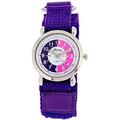 TOC Mädchen Zeitlernuhr, weißes Zifferblatt, violettes Klettarmband Kinderuhr