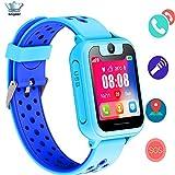 Reloj Inteligente para Niños, Niños Smartwatch Impermeable,LBS Localizador Reloj del Teléfono,Reloj Infantil Reloj Digital Reloj Despertador SOS Reloj Inteligente Compatible con iOS/Android (Azul)