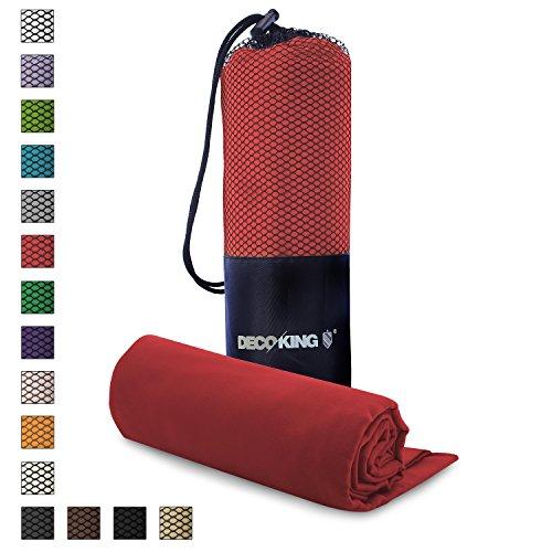 DecoKing 2er Set Gästetuch 30x50 cm und Badetuch 70x140 cm Dunkelrot Rot Mikrofaser Kühlend Schnelltrocknend Leicht saugstark Sporthandtuch Reisehandtuch Ekea