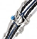 Weekend geflochtenes Charms-Armband im Stil von Harry Potter und den Heiligtümern des Todes, mit Eulen und Flügeln in Silber