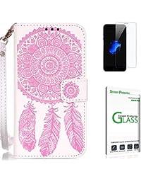 Penlicraft Galaxy S5 Hülle [mit Panzerglas],Galaxy S5 Handyhülle, PU Leder Geprägte geschnitzt [Hippie Mandala böhmischen Dreamcatcher] Handyhüllen [Magnetverschluss] für Samsung Galaxy S5(Weiß rosa)