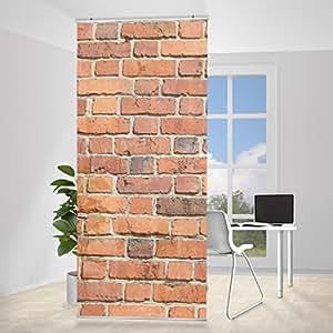 Rideaux coulissants brick panneau séparateur design motif mur de pierres