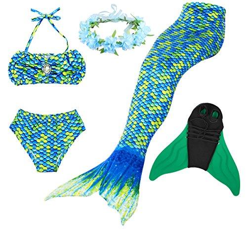 Superstar88 Mädchen Cosplay Kostüm Badebekleidung Meerjungfrau Shell Badeanzug 3pcs Bikini Sets mit Einer Flosse und Einer Kränze Tolle Geschenksidee ! (110, HOPEFULL Green)