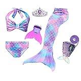 JoyChic, coda da sirena per il nuoto, costume da sirena, bikini, incl. pinna stile 4 130-140 cm