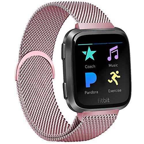 AK Kompatibel für Fitbit Versa Armband, Metall Edelstahl Handgelenk Ersatzband Armbänder mit Starkem Magnetverschluss für Fitbit Versa/Fitbit Versa Lite/Fitbit Versa 2 (Rosa, Small)