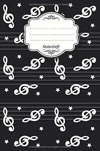 """Notenheft: Notenbuch I 96 Seiten I ca. a5 I 15,24 x 22,86 I 6"""" x 9"""" I 8 Notensysteme pro Seite I mattes Softcover I Noten Stern schwarz"""