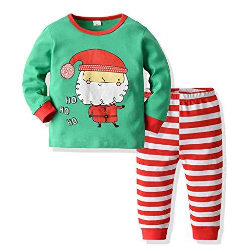 WFRAU Baby Mädchen Weihnachten Pyjama Anzug Kinder Winter 2 Stück Weihnachten Muster Print Langarm Tops + Dot/Stripe Print Hosen Nachtwäsche Outfits Kind Hosen T Shirt Homewear, für 1-6 Jahre