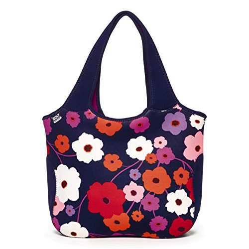 Flower Essential Tote Bag (BUILT NY Essential Neoprene Shopping Tote Bag, Lush Flower Blue by Built NY)
