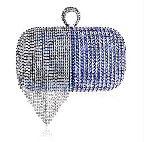 GSHGA Neue Quasten Farbverlauf Abend Clutch Bag Handtasche Für Party Hochzeit Clubs Blue