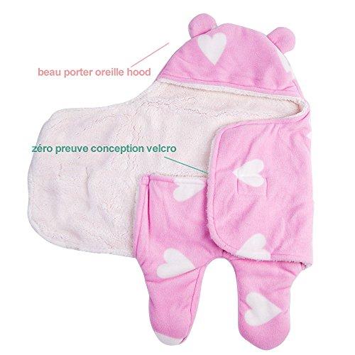 Schlafsack Baby Unisex Vierjahreszeiten Kinderschlafsack - GreForest Babyschlafsack Baumwolle Wattierter Dickes Fleece Getrennte Beine Weich Warm Rosa stern 0-3 Monate