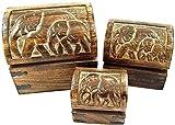 Holzkiste mit Elefanten-Motiv im 3er-Set, Holztruhe, Schatulle aus Holz, Holzbox, Elefanten Relief