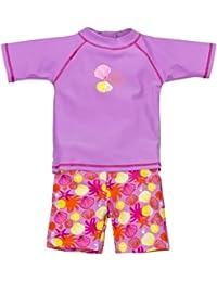 Landora®: Baby- / Kleinkinder-Badebekleidung 2er Set mit UV-Schutz 50+ und Oeko-Tex 100 Zertifizierung in rot oder violett