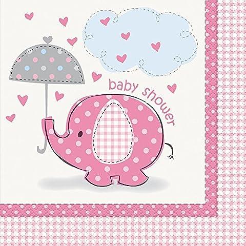 Unique Party - 41652 - Paquet de 16 Serviettes en Papier Baby Shower Éléphant - Rose
