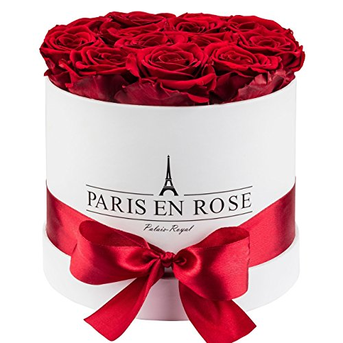 PARIS EN ROSE Palais-Royal Rosenbox (Flowerbox) mit konservierten Infinity Rosen, Weiss-Bordeauxrot (Royal Roses)