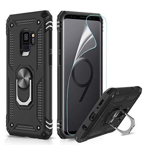 LeYi Custodia Galaxy S9 Cover, 360° Girevole Regolabile Ring Armor Bumper TPU Case Magnetica Supporto Smartphone Silicone Custodie con HD Pellicola per Samsung Galaxy S9 Case Nero