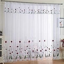 GJFLife Verdunkelnd Ösen Vorhang Vorhänge, Schiebetür Gardinenschals Wohnzimmer  Schlafzimmer Fenster Behandlungen Vorhänge A