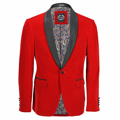 Xposed Herren Anzug Smokingjacke, Vintage-Stil, Samt, 3-teilig, Rot Gr. Brust UK 50 EU 60, ()