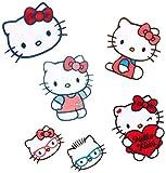 Mono-Quick Hello Kitty gestickte Applikationen zum Aufbügeln und Aufkleben, Polyester, Mehrfarbig 6.4 x 6.4 x 0.1 cm, 6-Einheiten