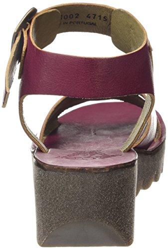 FLY London YERA523FLY, Sandales Compensées femme Violet - Purple (Magenta)