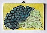 Grappe de raisin-Aquarelle sur toile de dimensions de papier cm 15x10x0,3 cm, prêt à être attaché au mur.Fabriqué en Italie, Toscane, Lucques.Fait à la main et créé par Davide Pacini.