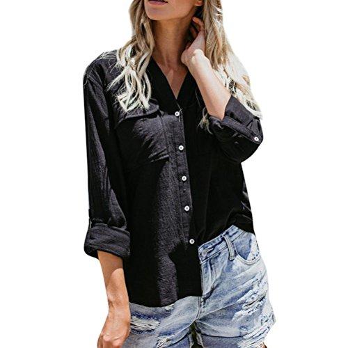 UFACE Damen Frauen Langarm-Shirt-Shirt Baumwolle Linie Casual Solid Langarm-Shirt Bluse Button-Down-Tops(Schwarz,EU/40CN/S)