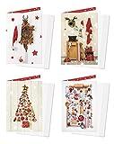 Weihnachtskarten-Set 4 Stück rot weiß gold Karten Weihnachten weihnachtlich MIT KUVERT vintage shabby chic Nostalgie'alt' Weihnachtsgrußkarte Doppelkarte OHNE TEXT