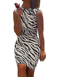 100cd09f2329 Simple-Fashion Estivo Donna Ginocchio-Lunghezza Vestiti Basic Moda Zebra  Stampa Senza Maniche Abito