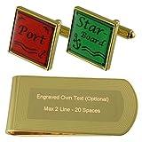 Select Gifts Port Steuerbord segeln Gold-Manschettenknöpfe Geldscheinklammer Gravur Geschenkset