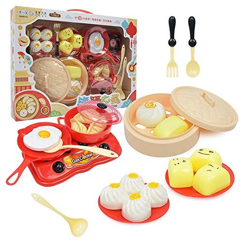 ZMH Chinesisches Essen Kochen Set Kinder Spielzeug, 18 STÜCKE Cartoon Mini Kinder Chef küche Kits Kochen Bildung Geschenke für Jungen und Mädchen