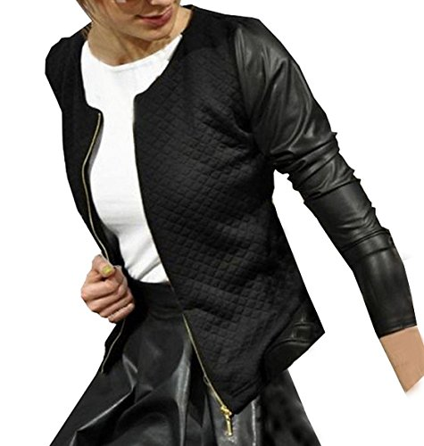 Langarm Oberteile Damen Slim Mäntel Tops Spleißen Jacke Reißverschluss Cardigan Tunika Kurz Jacke (Leder 50er Jacke Jahre)