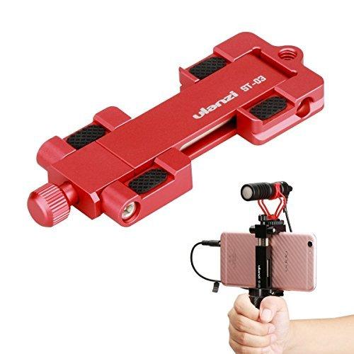 ulanzi st-03Metall CNC Made Adapter Handy Halterung Cold Shoe Mount, Handy Stativ Halter Clip Adapter und Arca-Style Quick Release Plate für 4.3in zu 7in Bildschirm Smartphone (Rot) -