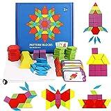 GoGlor Jigsaw Puzzle di Legno Giochi Montessori 155PCS Blocchi di Tangram per Bambini 3 Anni, Forme Geometriche Materiale Montessori Set di Giochi Educativi con 24 Carte Design