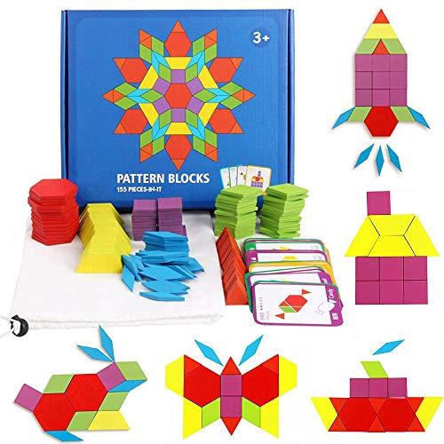Kinder Holz Tangram Montessori Spielzeug 155 Pcs DIY Jigsaw Puzzle Lernspielzeug, Toddler Baby Lehrmittel Montessori Material Holzpuzzle Bunt Tangram Spiel Set Mit 24 Designkarten
