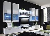 all4all Wohnwand ELFANOSI Hochglanz mit LED -Beleuchtung Weiß Anbauwand Wohnzimmerschrank TV Lowboard Wohnzimmermöbel Glas - Vitrine Fernsehschrank Lowboard Hängend TV Schrank LED 14