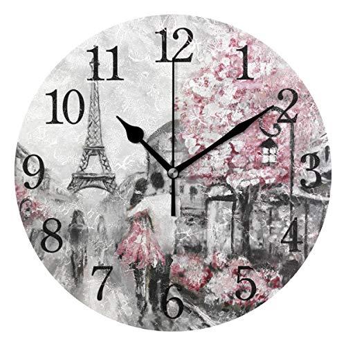 WowPrint Wanduhr, Romantisches Paris, Eiffelturm, Acryl, rund, Nicht tickend, dekorative Kunst, Malerei für Büro, Klassenzimmer, Schlafzimmer, Wohnzimmer, Badezimmer, Küche Dekor