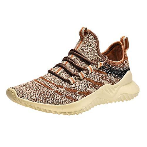 CUTUDE Herren Damen Laufschuhe Sneaker Straßenlaufschuhe Sportschuhe Turnschuhe Outdoor Leichtgewichts Freizeit Atmungsaktive Fitness Schuhe (Braun, 45 EU) (Old Navy Kostüme)