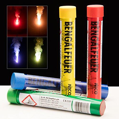 Bengalfeuer im Bunten 4er Set - Bengalo Sparpack Multicolor - Rot Gelb Grün & Blau - PARTYMARTY GMBH®