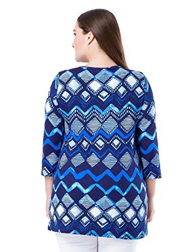 Chicwe Damen Tunika Große Größen eingekerbter Rundhalsausschnitt 3/4 Ärmel Bedruckt EU44-60 Blau