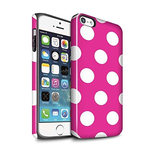 STUFF4 Glanz Harten Stoßfest Hülle / Case für Apple iPhone 7 Plus / Lila Muster / Tupfen Muster Kollektion Rosa