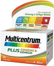 MULTICENTRUM Complemento Alimenticio con 13 Vitaminas, 8 Minerales, Ginseng y Ginkgo Biloba, para Adultos a pa