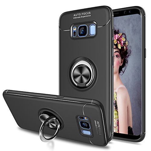 Handyhülle Samsung S8 Plus,Cover TPU Bumper 360 Grad Ring Stand Magnetische Schutzhüllemit Folie Schutzfolie für Case Galaxy S8 Plus Handy Hüllen JSZH Schwarz ()