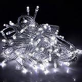 LED Lichterkette 10 Meter 8 Modi 100 LEDs verlängerbar Festbeleuchtung innen aussen Fensterdekoration 7 Watt weiß