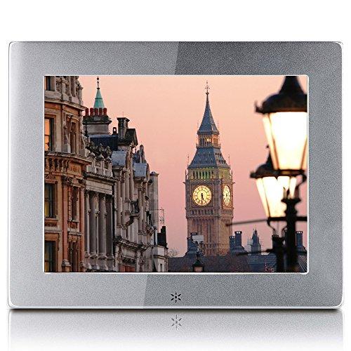 Digitaler Bilderrahmen IPS Display 1920 * 1080 HD-Video Wiedergabe, Slim Elektronischer Bilderrahmen mit Fernbedienung, Zufallswiedergabe, MP3- und Video-Wiedergabe, Schönes Geschenk (8, Silber)