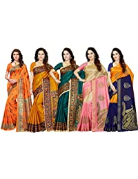 Ishin Silk with Blouse Piece Saree (Pack of 5) (Combosr-28003_Multicolor_Free)